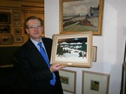 Auctioneer William Gregory With Some Of The Lots In The Fine Art Auction