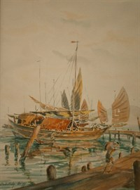 Lot 161 - Harbour Scene With Boats And Figures By Abdullah Ariff