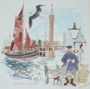 Lot 135 - 'Grimsby Fish Docks ' By Colin Carr Is Estimated To Sell For Between £120 To £180