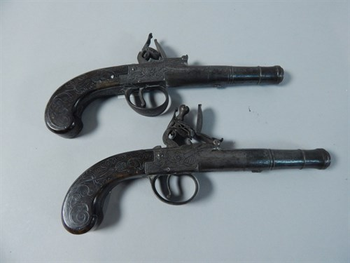 Lot 46 - A Pair Of 19th Century Pistols By Barber Of Newark
