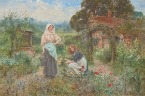 Lot 89 - Henry John Yeend King 's Maiden In A Floral Cottage Garden