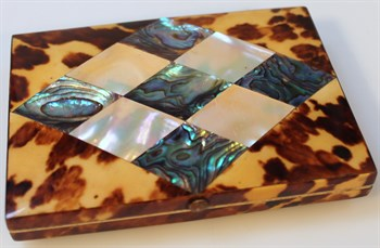 Lot 48-1 Victorian tortoiseshell mother of pearl and white metal card case