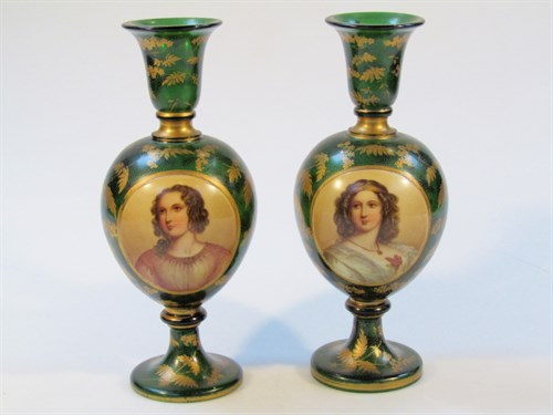 Lot 18 A Pair Of 19th C Bohemian Green Glass Vases
