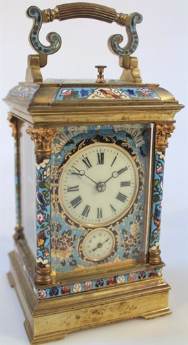 Lot3 A late 19thC French gilt brass and champleve enamel striking and repeating carriage clock with alarm