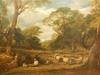 John Linnell (1792-1882). Woodland landscape with workers