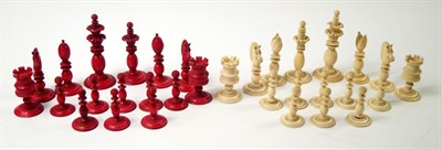 Thumbnail _lot 312 A 19thC white and red stained ivory chess set attributed to Calvert of Fleet Street