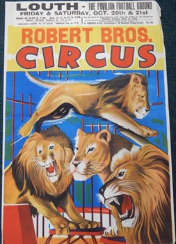 Thumbnail _lot2 A Robert Brothers Circus poster, at the pavilion football ground, Louth