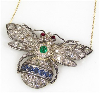 Thumbnail _lot 27 An 18ct gold diamond sapphire emerald and ruby bee shaped pendant necklace