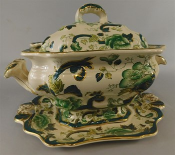 Thumbnail _lot 704 A Masons Ironstone green chartreuse pattern tureen