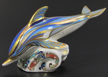 Thumbnail _lot 77 A Royal Crown Derby dolphin paperweight