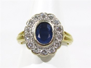 Thumbnail _lot 12a A ladies 18ct gold sapphire and diamond ring