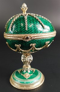 15 A Fabergé silver and green guilloche enamel egg