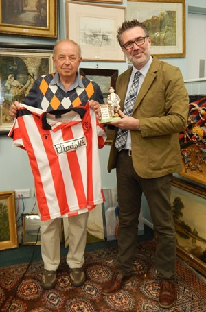 Thumbnail _Mr Rollinson With Auctioneer John Leatt And Some Of The Football Memorabilia
