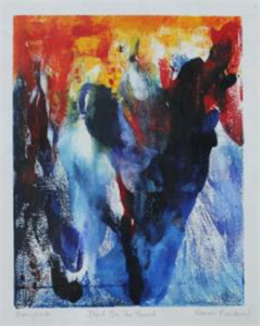 Norah Ranshaw Dance Monoprint on Paper Abstract Expressionist