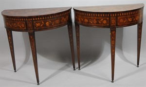 Thumbnail _lot 1101 Victorian matched pair of card tables with marquetry inlay