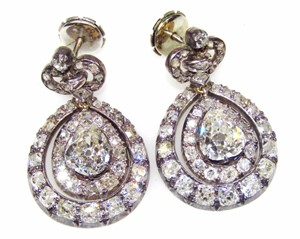 Thumbnail _lot 1246 A pair of 19thC French diamond set pendant earrings