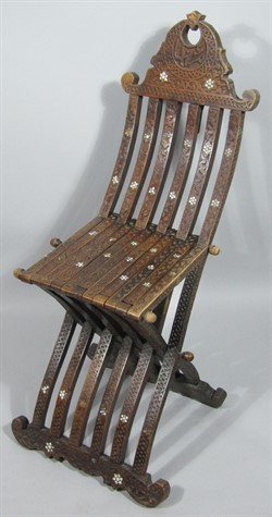 Thumbnail _lot 1866 A Syrian hardwood folding chair