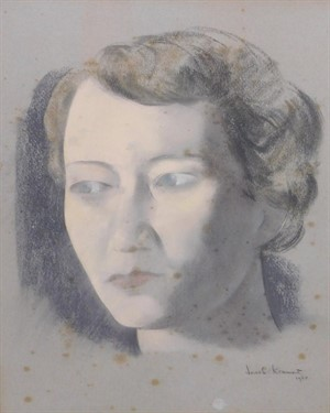 Thumbnail _lot 239 Dame Flora Robson portrait by the Anglo-Russian artist Jacob Kramer (1894-1962)