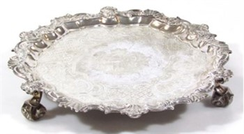 Lot 1050 A George II silver salver, by Benjamin Godfrey