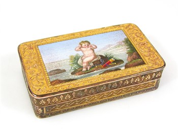 1200 A George III bi-colour metal and micro-mosaic box