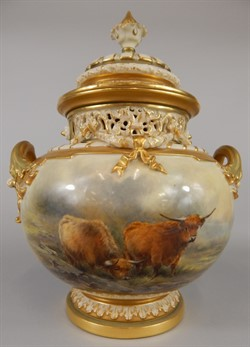 1236 A Royal Worcester two handled vase and cover, of squat ovoid form, painted with highland cattle in a landscape by John Stinton