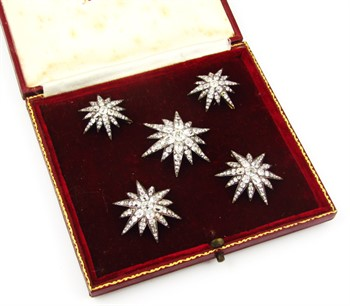 Lot 1245 A set of five Victorian diamond set six point star emblems