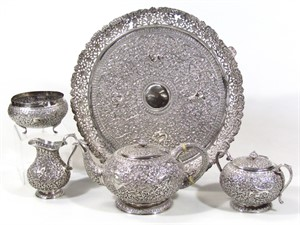 1916 An early 20thC Indian five piece tea service