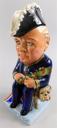 Thumbnail _lot2 A Wilkinson Limited Royal Staffordshire Pottery Clarice Cliff toby jug, modelled in the form of Winston Churchill