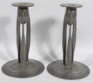 Thumbnail _lot 612 A pair of Archibald Knox design Tudric pewter Arts & Crafts metal candlesticks