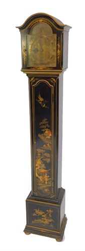 Lot 2 An Asprey of London black japanned lacquer grandmother clock