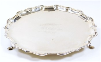 Lot 1 A George V silver salver, by Mappin & Webb