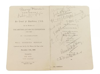 Lot 3 A Signed Menu Card, for The Luncheon Given to Sir Ernest Shackleton CVO by the Members of The British Antarctic Expedition