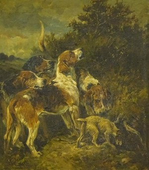 3003 John Emms (1843-1912). Hounds and a terrier